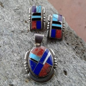 Sterling silver multi inlay SET